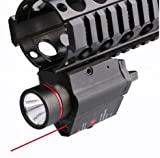 [Full Metal] ilauke Pistol/Glock Light Tactical Red Laser Sight 200 Lumen LED Flashlight by 20mm Rail with 2 x CR123A Batteries (Updated Metal Material)