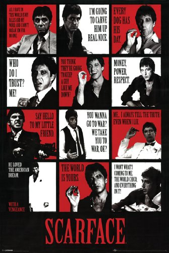 777 Tri-Seven Entertainment Scarface Poster Movie Quotes Al