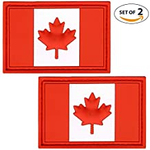 Set of 2 Canada Flag PVC Morale Patch | Tactical Patches Canadian for Travel Backpack Hats Jackets Team Uniform Military and many more! (Red)