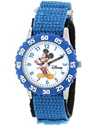 Kids' W000002 Mickey Mouse Stainless Steel Time Teacher Watch