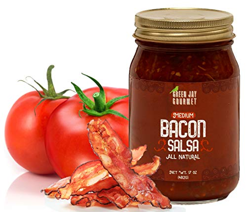 Green Jay Gourmet Bacon Salsa - Medium Heat Salsa with Natural Bacon & Jalapeno Peppers - Gourmet Salsa Dip with No Preservatives - Gluten-Free, MSG-Free, Small Batch Natural Salsa Sauce - 17 Ounces