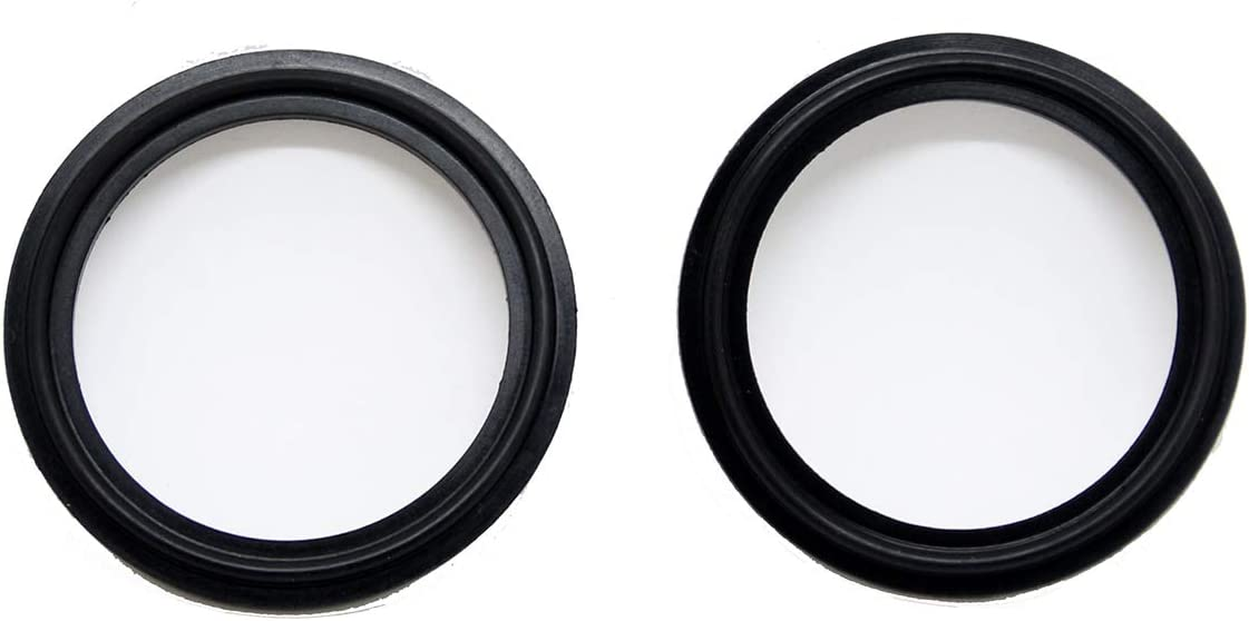 2 Pack QiiMii 1 Sanitary Standard Tri-Clamp Silicone Gaskets Black FKM-Viton