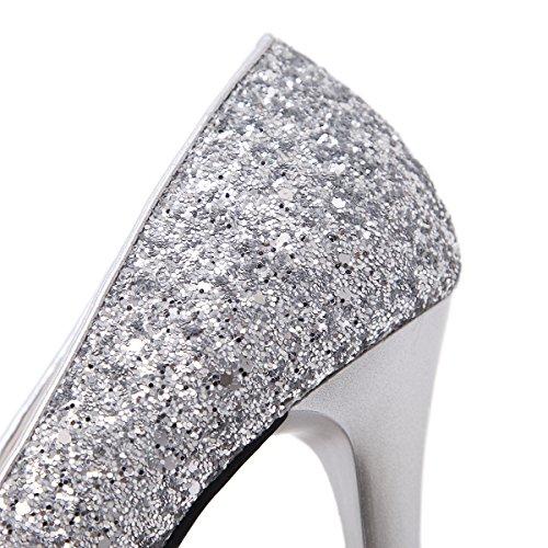 Bouche Talons Féminin Printemps Nouvelle Et Hauts Sandale Pure Été De Chaussures Fine Couleur Poisson 12cm Talons Sauvage Argent À Hauts Paillettes Zhznvx 1ZwYx1