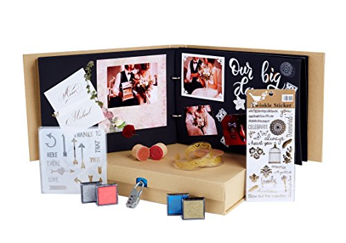 (Scrapbook Album Kit with Storage - DIY Scrapbooking Box Set with Black Refill Pages and Scrapbook Supplies - Ideal for Wedding Baby Travel Adventure Polaroid Guest Book Memory Scrap Book Photo Album)