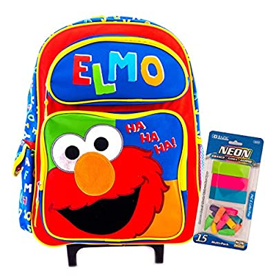 Kids School Backpacks, Lunchbox and more with Elmo and The Sesame Street Packaged with Stationary Supply (16 Inch Carry Only Red&Blue) | Kids' Backpacks