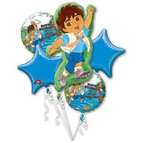 Go Diego Go Balloon Bouquet - Diego Balloons - 5 count -