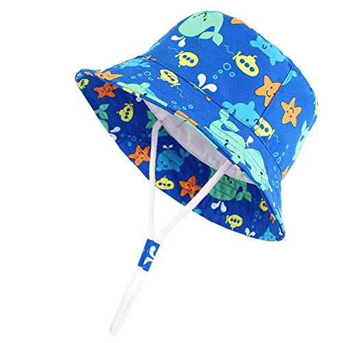 Century Star Baby Kid Sun Hat UPF 50+ Sun Protection Boys Girls Wide Brim Summer Beach Bucket Hat Toddler Flap Hat Blue Sea World Medium (12-24 Months/19.7