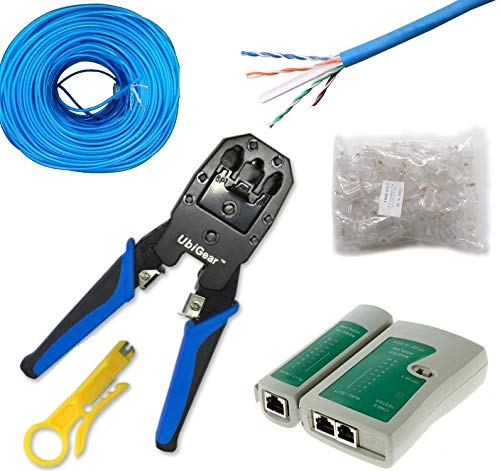 UbiGear CAT6 500 FT UTP Network Cable + Tester +Crimp Crimper +100 RJ45 CAT6 Connector Plug Network Tool Kits (CAT6Kits500FT)