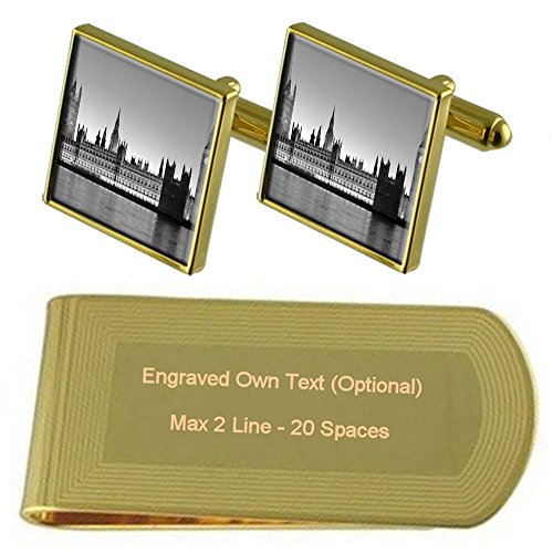 Parliament Money of Houses Set tone Cufflinks Engraved Gold Clip London Gift BE1qawq