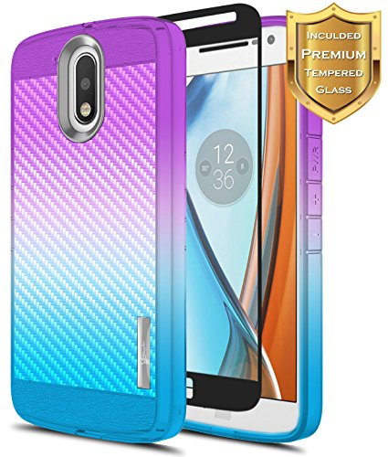 Moto G4 Case w/[Full Coverage Tempered Glass Screen Protector], NageBee [Carbon Fiber] Frost Clear Slim Soft TPU Protective Cover Case for Motorola Moto G 4th Gen -Purple/Blue