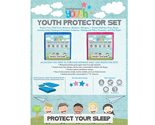 Price comparison product image donco kids 694-B Full Youth Mattress Protector Set, Blue