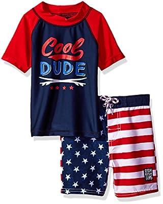 OshKosh B'Gosh Osh Kosh Boys' Cool Dude Patriotic Flag Rash Guard Set