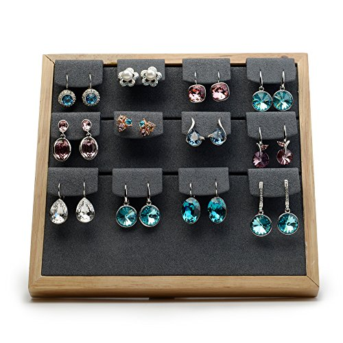 Oirlv Solid Wood Jewelry Organizer Stand Earrings Showcase Display Holder(12-bit earrings gray)