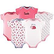 Luvable Friends Cotton Bodysuit, 5 Pack, Little Lady, 9-12 Months