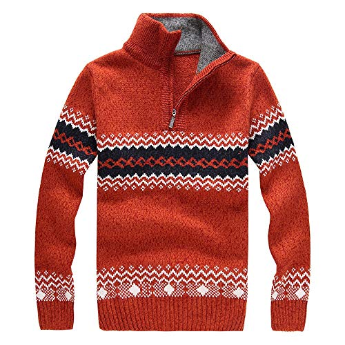 QBQCBB Mens Funny Christmas Snowflake Pullover Stand Collar Long Sleeve Sweater(Orange,M) from QBQCBB