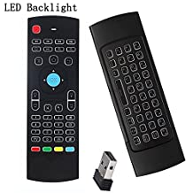 (Updated With Backlit)WONDAY Air Remote Mouse MX3 Pro ,2.4G Backlit Remote Control ,Mini Wireless Keyboard & infrared Remote Control Learning, Best For Android Smart Tv Box HTPC IPTV PC Pad XBOX Raspberry pi 3(Backlit)
