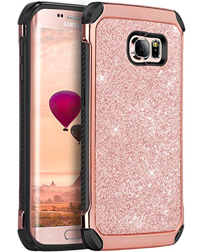 Galaxy S6 Edge Case, S6 Edge Case, BENTOBEN 2 in 1 Luxury Glitter Bling Hybrid Slim Hard Covers Sparkly Shiny Faux Leather Chrome Shockproof Protective Case for Samsung Galaxy S6 Edge, Rose Gold
