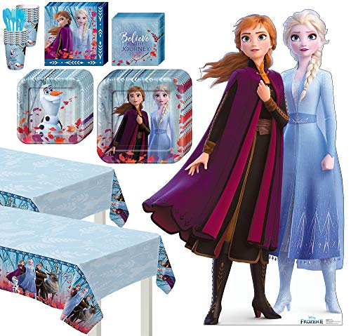 Frozen Characters For Party (Party City Frozen 2 Basic Tableware Kit and Supplies for 16 Guests, Includes Table Covers and Anna and Elsa)