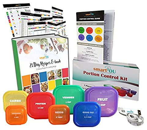 smartYOU PREMIUM LABELED 7 Piece Portion Control Containers Kit (COMPLETE GUIDE + FREE 21 DAY PDF PLANNER + RECIPE E-BOOK + BODY TAPE MEASURE included) - Leak proof, Perfect Size, - Control Measures