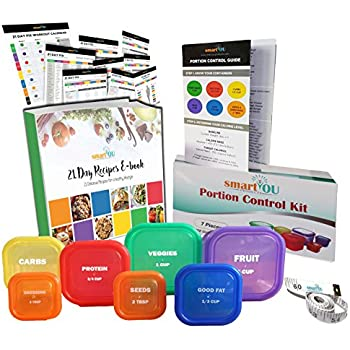 smartYOU PREMIUM LABELED 7 Piece Portion Control Containers Kit (COMPLETE GUIDE + FREE 21 DAY PDF PLANNER + RECIPE E-BOOK + BODY TAPE MEASURE included) - Leak proof, Perfect Size, Color-coded