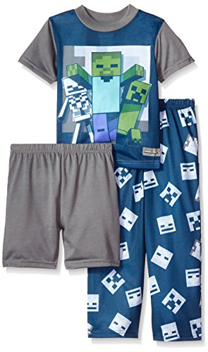 Minecraft Big Boys' 3-Piece Pajama Set, Navy Nights, 8