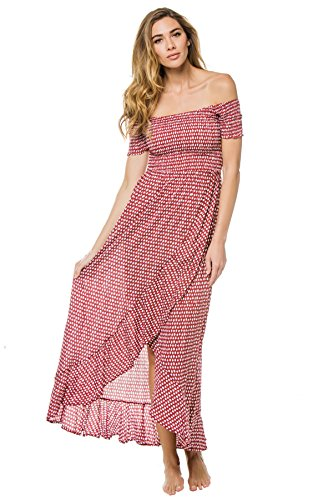Tiare Hawaii Women's Wovens Maxi Dress Swim Cover Up Sleet Maroon One by Tiare Hawaii (Image #2)