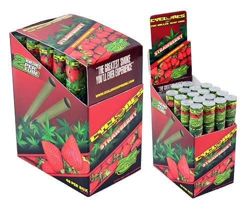 - Cyclones Strawberry Flavored Pre-Rolled Hemp Wraps (Full Box, 48 Wraps)