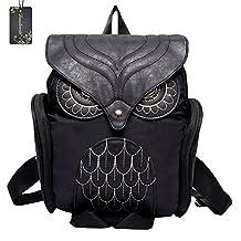 Donalworld Women Backpack PU Leather Cool Owl School Bag Backpacks