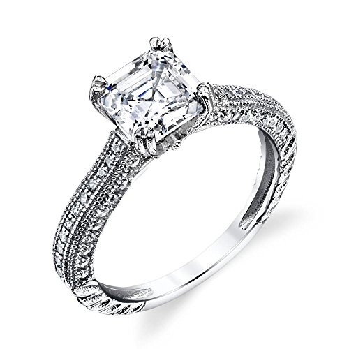 Asscher Square Ring - 925 Sterling Silver Asscher Square Cut CZ Simulated Diamond Engagement Wedding Ring Set with Micro Pave Cubic Zirconias #SOE020