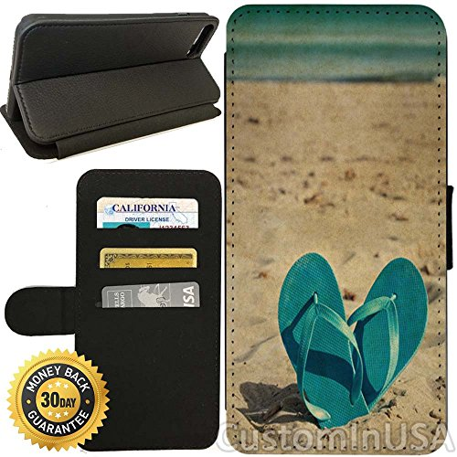 Flip Wallet Case for iPhone 7 (Summer Sand Beach Flipflops) with Adjustable Stand and 3 Card Holders | Shock Protection | Lightweight | by Innosub (Holder Flip Flop Card)