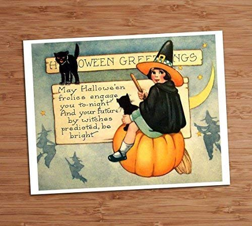 Halloween Greeting Cute Witch Girl Black Cats Vintage