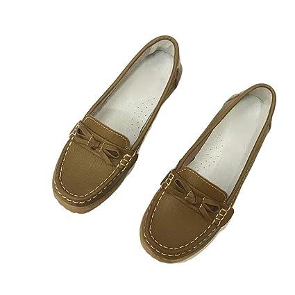 August Jim Zapatos Planos para Mujer, Punta Redonda, clásicos para Mujer, Zapatos Mocasines