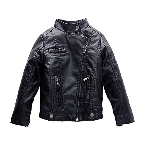 Spring&Gege Boys' Classic Stand Collar Faux Leather Jacket Children Coat Size 7-8 Years Black -