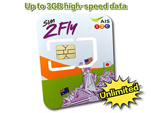 AIS Sim2Fly: Asia Data Roaming for 20 Countries Preloaded Data SIM Card 4GB / 8 Days Japan, Korea, Singapore, Malaysia, Hong Kong, Laos, India, Taiwan, Philippines, Cambodia, China, Nepal, Australia