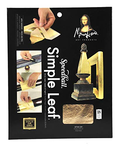 Speedball 10030 Mona Lisa Gold Simple Leaf for Metal Leafing Projects, 5-1/2 x 5-1/2 Inches - 18 Pack