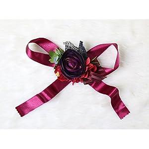 Gothic style bridesmaid wristband Flowers Halloween Wedding Bridal (Burgandy theme) 35