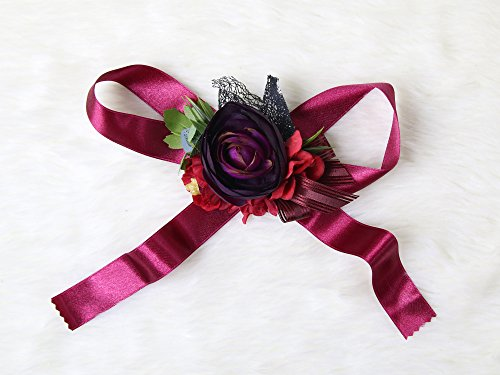 Gothic style bridesmaid wristband Flowers Halloween Wedding Bridal