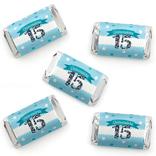 Quinceanera Teal - Sweet 15 - Mini Candy Bar Wrapper Stickers - Birthday Party Small Favors - 40 Count