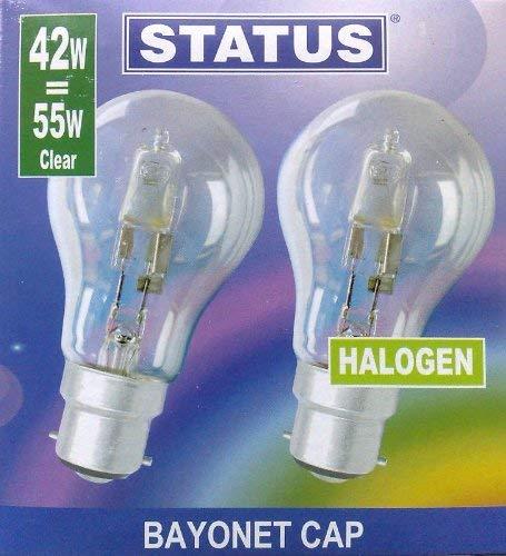 STATUS 42 W (= 55 W – 60 W) BC B22 B22d GLS Eco, halogeen, Classic-spaarlampen, dimbare lampen, bajonetfitting, 630…
