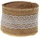 SL crafts 10 Yards Natural Hessian Burlap with Lace Ribbon 2 Inch Wide (White)