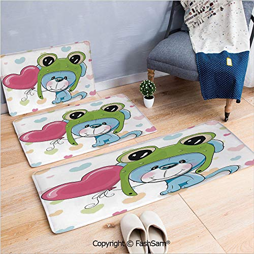 3 Piece Non Slip Flannel Door Mat Cartoon Puppy in a Frog Hat with Balloon on Heart Love Animal Kids Print Decorative Indoor Carpet for Bath Kitchen(W15.7xL23.6 by W19.6xL31.5 by W31.4xL47.2) ()