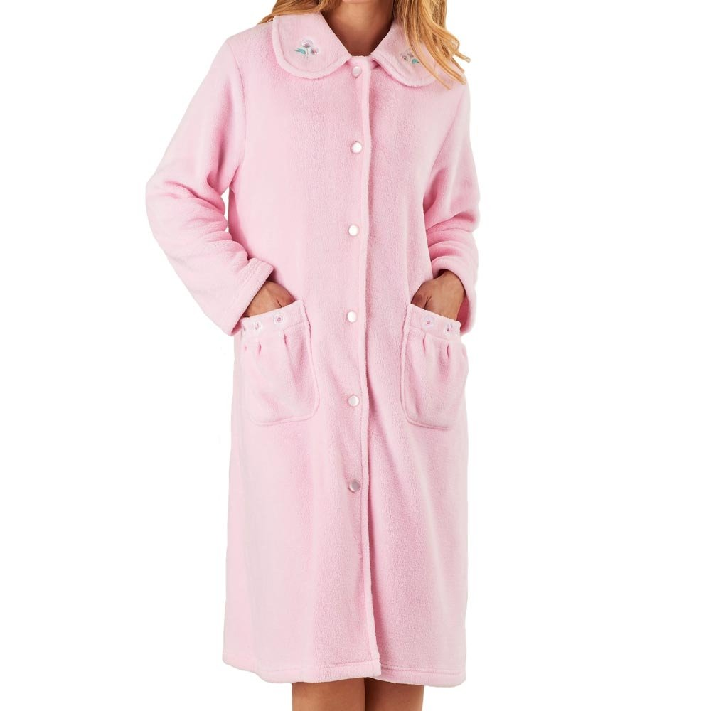 Slenderella Button Opening Soft Fleece Housecoat