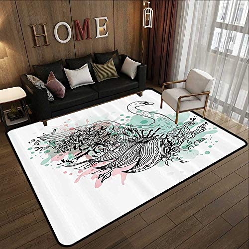 Low-Profile Mats,Animal,Hand Sketch Swan Bird Floral Details and Color Splashes Watercolors,Mint Green Light Pink Black 71