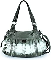 Angelkiss 2 Top Zippers Large Capacity Handbags Washed Leather Purses Shoulder Bags AK19244/2 (Grey 2)