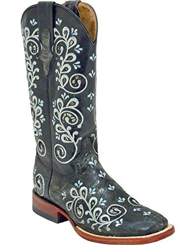 Ferrini Women's Rockin' Cowgirl Boot Square Toe Black 7 M