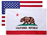 Cheap 3×5 Feet Nylon Double Sided California State Flag by Cascade Point Flags – Double Sided Superior Quality Embroidered Oxford 210D Heavy Duty Nylon (California & USA 2 Pack – Combo Pack)