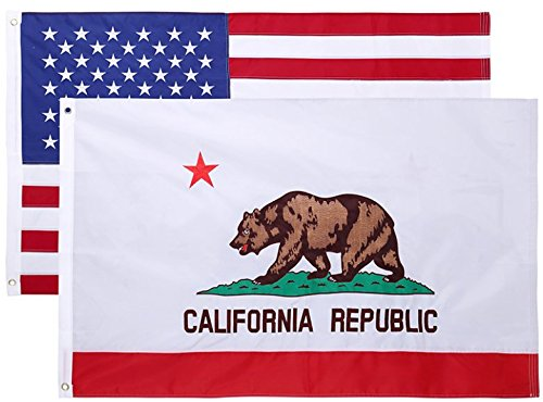 Nylon California State Flag - 3x5 Feet Nylon Double Sided California State Flag by Cascade Point Flags - Double Sided Superior Quality Embroidered Oxford 210D Heavy Duty Nylon (California & USA 2 Pack - Combo Pack)