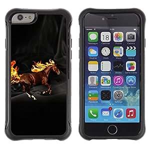 Fuerte Suave TPU GEL Caso Carcasa de Protección Funda para Apple Iphone 6 PLUS 5.5 / Business Style Horse Wild Flames Mythical Creature Brown