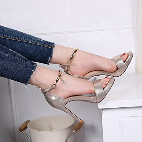 Sandals Gold With Pair Xia Heel Water Waterproof Shoes A 10Cm Xianshou Platform Heels Fine Woman High Female Of Metal Drill High PU MDRW Sw8q1ptt