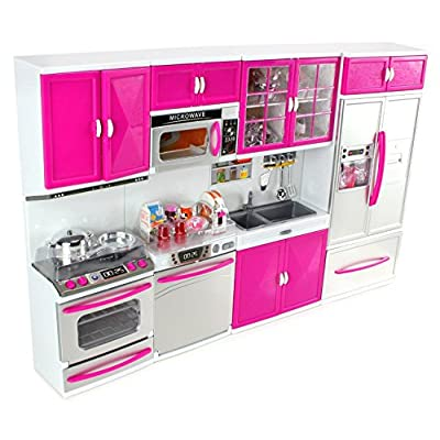 Doll Playsets My Modern Kitchen 32 Full Deluxe Kit with Lights and Sounds, 21 x 13.8 x 4 -Inches: Toys & Games